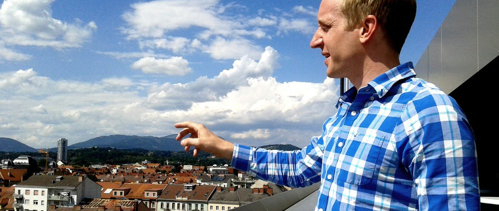 Jochen Kerschenbauer on the rooftop terrace of TU Graz