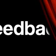 the feedbackr logo behind a courtain