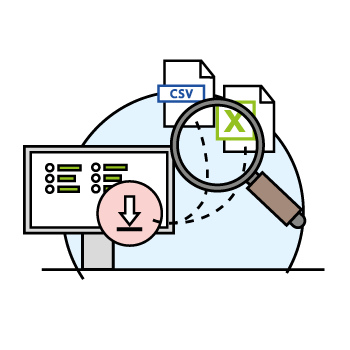 Illustration shows exporting feedbackr data