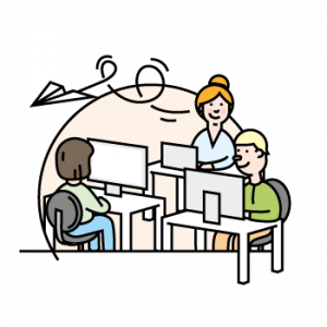 Illustration showing employees at company who are using feedbackr
